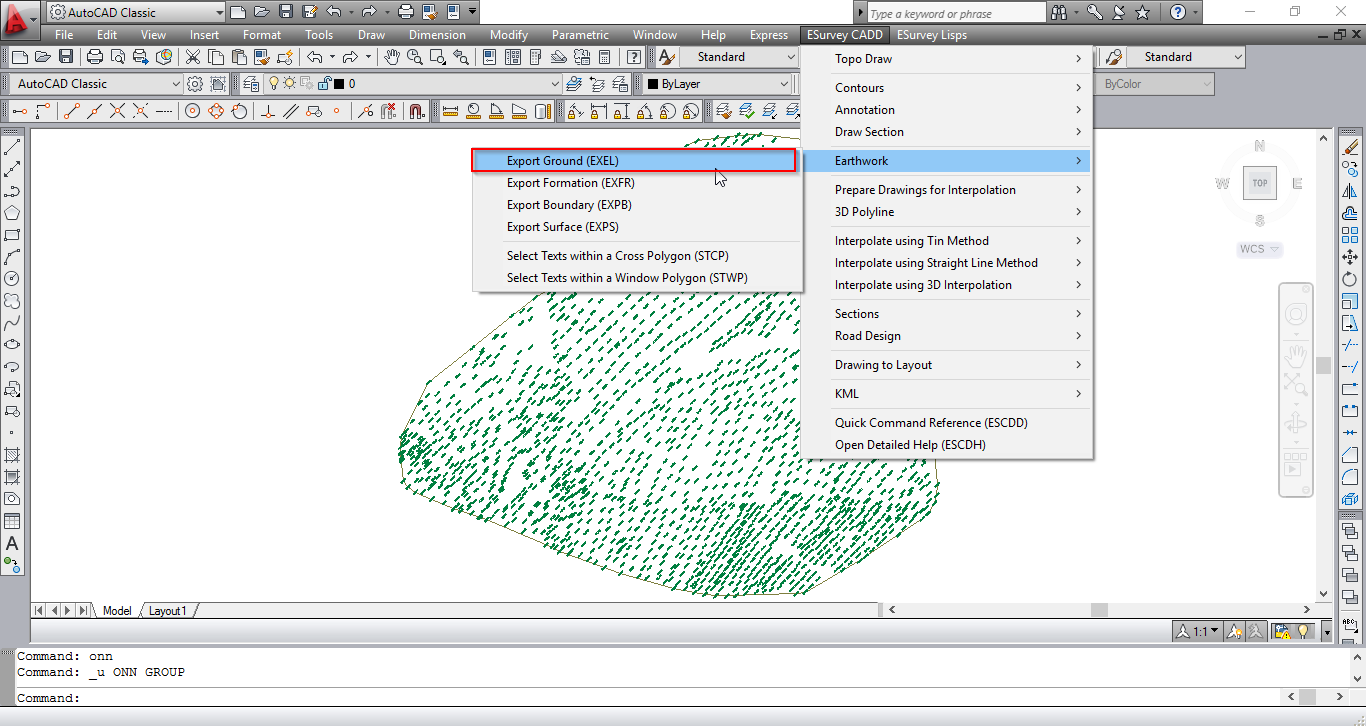 exporting data from autocad to esurvey interface