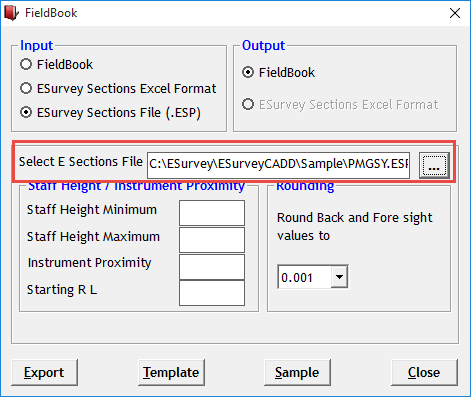 Creating Field Book from ESurvey CAD Data File