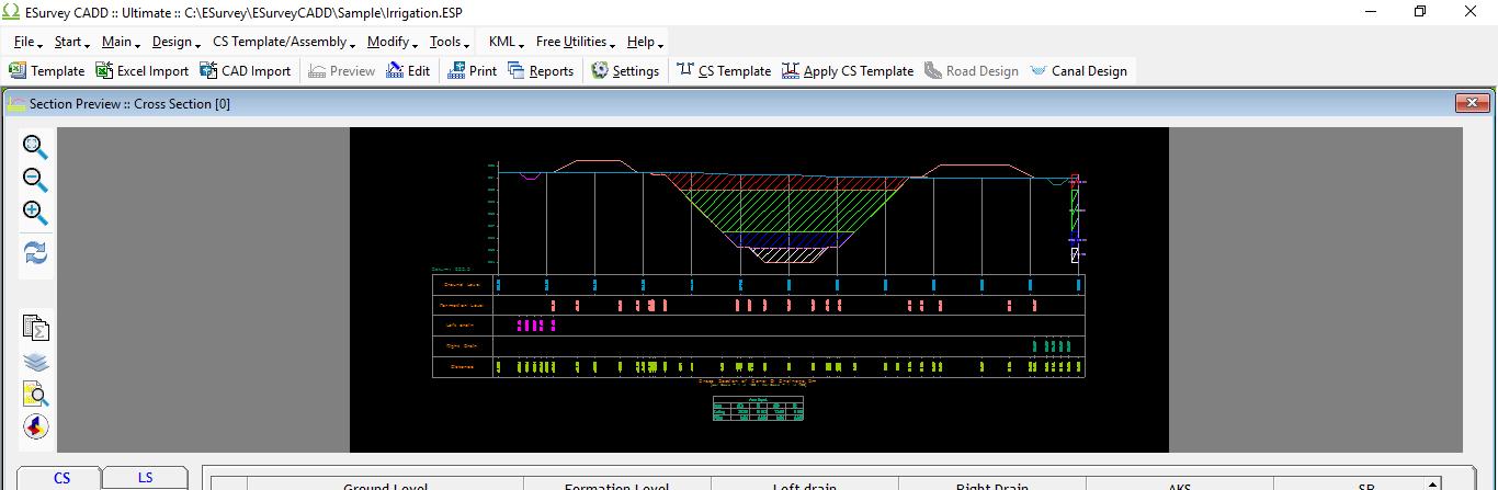 cs software help create canal cross section template