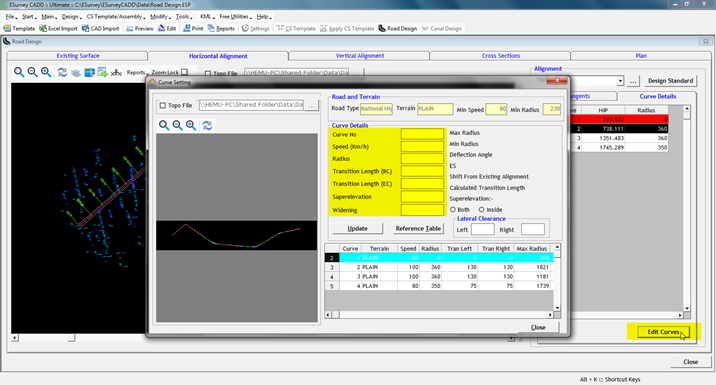 Horizontal Alignment Design (Calculation) Software Example