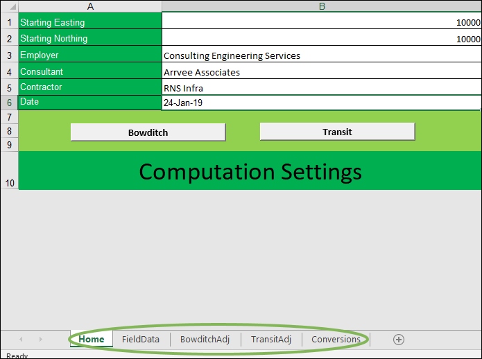 Software || Closed Traverse Correction – Excel Solution