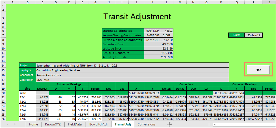 Open Traverse Correction Using Excel Macro (Bowditch Rule)